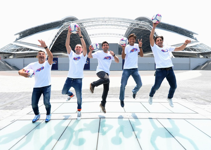 (L-R) Vitor Baia, Maniche, Deco, Paulo Ferreira, Nuno Gomes having fun at the Sports Hub, for which Tiger is the Founding Partner and Official Beer